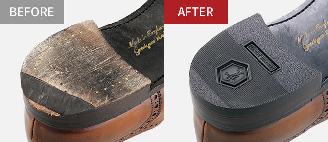 紳士靴も土台を傷めるため早めのヒール修理がおすすめです。滑りにくく適度なクッション性のあるゴム部材はビジネスシューズに最適。靴底が一体になった靴のかかと部分